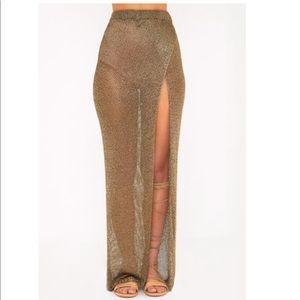Gold metallic wrap skirt